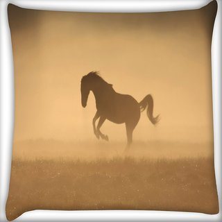 Snoogg Horse In Dust Digitally Printed Cushion Cover Pillow 16 x 16 Inch