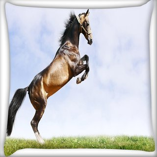 Snoogg Abstract Horse Standing Digitally Printed Cushion Cover Pillow 16 x 16 Inch
