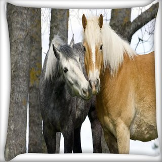 Snoogg Couple Of Horse Digitally Printed Cushion Cover Pillow 16 x 16 Inch