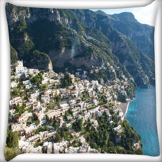 Snoogg White Clouds Digitally Printed Cushion Cover Pillow 16 x 16 Inch