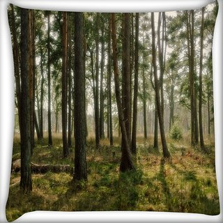 Snoogg Abstract Trees Digitally Printed Cushion Cover Pillow 16 x 16 Inch