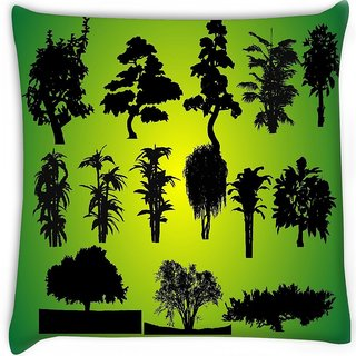 Snoogg  14 plants silhouettes  Digitally Printed Cushion Cover Pillow 16 x 16 Inch