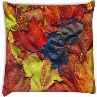 Snoogg  background made of red maple leaves  Digitally Printed Cushion Cover Pillow 16 x 16 Inch