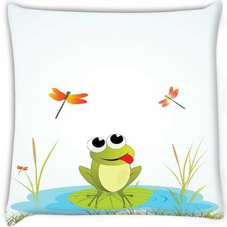 Snoogg  background with frog  Digitally Printed Cushion Cover Pillow 16 x 16 Inch