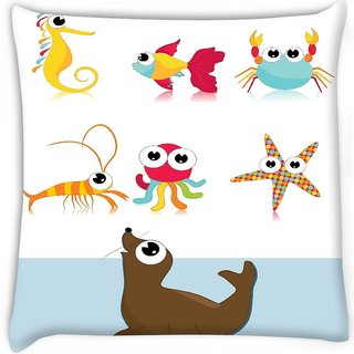 Snoogg  background with sea animal Digitally Printed Cushion Cover Pillow 16 x 16 Inch