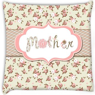 Snoogg  hand drawn vector floral frame with a word mother great mothers day card Digitally Printed Cushion Cover Pillow 16 x 16 Inch