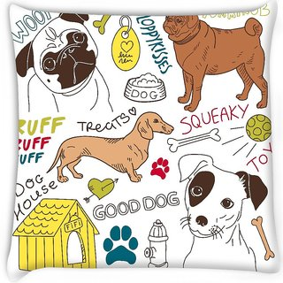 Snoogg  i love dogs vector doodles set Digitally Printed Cushion Cover Pillow 16 x 16 Inch