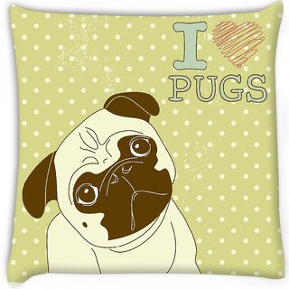 Snoogg  i love pugs cute little pug on polka dot background Digitally Printed Cushion Cover Pillow 16 x 16 Inch