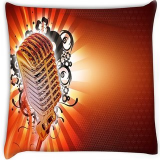 Snoogg  karaoke background Digitally Printed Cushion Cover Pillow 16 x 16 Inch