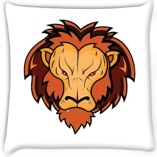 Snoogg  lion mascot Digitally Printed Cushion Cover Pillow 16 x 16 Inch