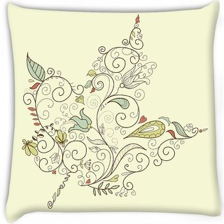 Snoogg  maple leaf  Digitally Printed Cushion Cover Pillow 16 x 16 Inch