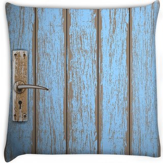 Snoogg  old wooden door Digitally Printed Cushion Cover Pillow 16 x 16 Inch