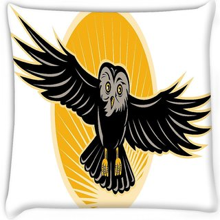 Snoogg  owl flying front Digitally Printed Cushion Cover Pillow 16 x 16 Inch