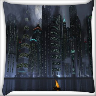 Snoogg Black City Digitally Printed Cushion Cover Pillow 16 x 16 Inch