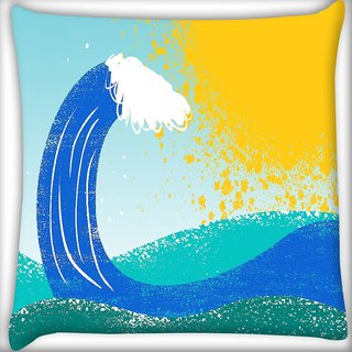 Snoogg Sea Waves Digitally Printed Cushion Cover Pillow 16 x 16 Inch