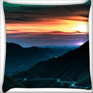 Snoogg City At Night Digitally Printed Cushion Cover Pillow 16 x 16 Inch