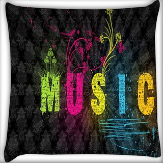 Snoogg Music Digitally Printed Cushion Cover Pillow 16 x 16 Inch