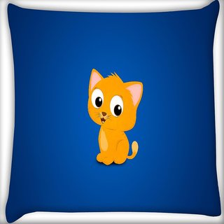 Snoogg Cute Kitty Digitally Printed Cushion Cover Pillow 16 x 16 Inch