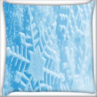 Snoogg Blue Xmas Digitally Printed Cushion Cover Pillow 16 x 16 Inch