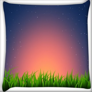 Snoogg Night At Garden Digitally Printed Cushion Cover Pillow 16 x 16 Inch