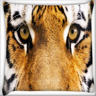 Snoogg Tiger Eyes Digitally Printed Cushion Cover Pillow 16 x 16 Inch