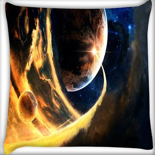 Snoogg Cool Earth Digitally Printed Cushion Cover Pillow 16 x 16 Inch