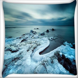 Snoogg Cool Ice Digitally Printed Cushion Cover Pillow 16 x 16 Inch