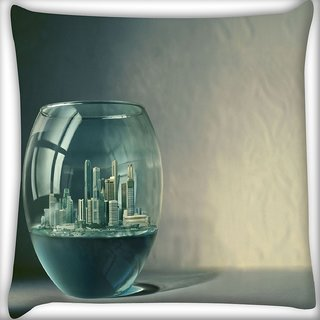 Snoogg City In Fish Tank Digitally Printed Cushion Cover Pillow 16 x 16 Inch