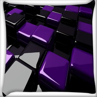Snoogg Black And Purple Cube Digitally Printed Cushion Cover Pillow 16 x 16 Inch