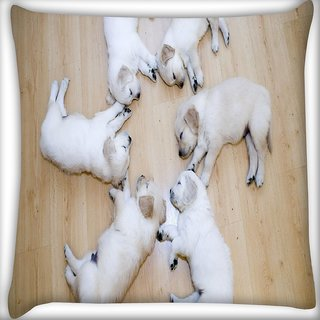 Snoogg Cute Dog Puppies Digitally Printed Cushion Cover Pillow 16 x 16 Inch