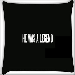 Snoogg He Was A Legend Digitally Printed Cushion Cover Pillow 16 x 16 Inch