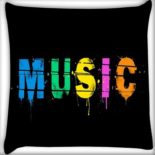 Snoogg Music Digital Digitally Printed Cushion Cover Pillow 16 x 16 Inch