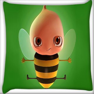 Snoogg Baby Honey Bee Digitally Printed Cushion Cover Pillow 16 x 16 Inch