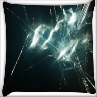 Snoogg Glass Broken Digitally Printed Cushion Cover Pillow 16 x 16 Inch