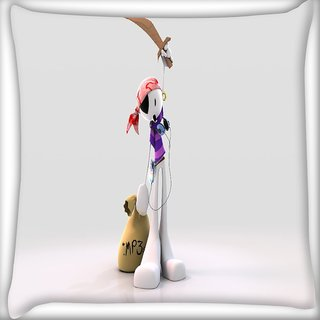 Snoogg Mp3 Sailor Digitally Printed Cushion Cover Pillow 16 x 16 Inch