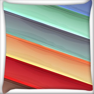 Snoogg Light Color Strips Digitally Printed Cushion Cover Pillow 16 x 16 Inch