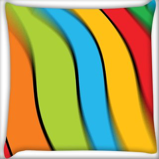 Snoogg Multiple Color Strips Digitally Printed Cushion Cover Pillow 16 x 16 Inch