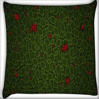 Snoogg Leaves With Berry Digitally Printed Cushion Cover Pillow 16 x 16 Inch