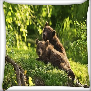 Snoogg Babies Bear Digitally Printed Cushion Cover Pillow 16 x 16 Inch