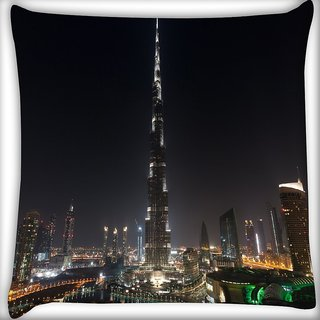 Snoogg Tallest Building In The World Digitally Printed Cushion Cover Pillow 16 x 16 Inch