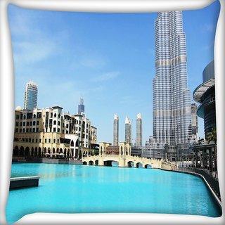 Snoogg Lake Near Burj Khalifa Digitally Printed Cushion Cover Pillow 16 x 16 Inch