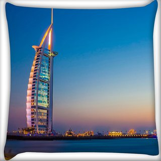 Snoogg Abstract Building Digitally Printed Cushion Cover Pillow 16 x 16 Inch