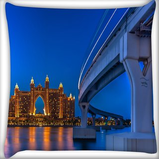 Snoogg Great Resort In Dubai Digitally Printed Cushion Cover Pillow 16 x 16 Inch
