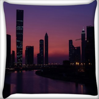 Snoogg Abstract Night View Digitally Printed Cushion Cover Pillow 16 x 16 Inch