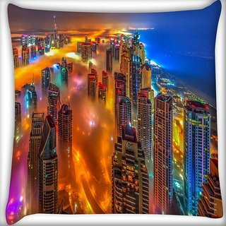Snoogg Colorful City Digitally Printed Cushion Cover Pillow 16 x 16 Inch