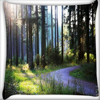 Snoogg Abstract Road In Forest Digitally Printed Cushion Cover Pillow 16 x 16 Inch