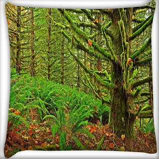 Snoogg Green Branched Tree Digitally Printed Cushion Cover Pillow 16 x 16 Inch