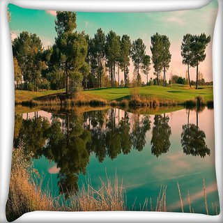 Snoogg River Side Tree Digitally Printed Cushion Cover Pillow 16 x 16 Inch