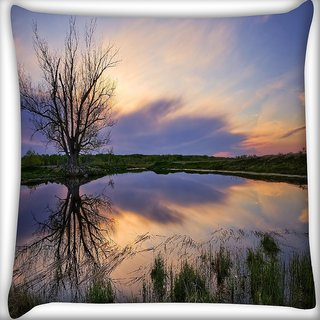 Snoogg Trees Without Leaves Digitally Printed Cushion Cover Pillow 16 x 16 Inch