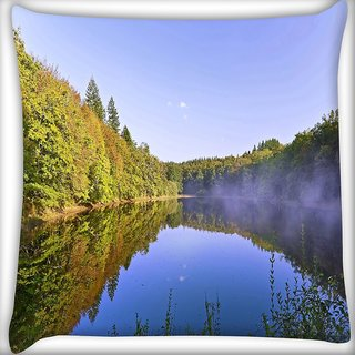 Snoogg River And Forest Digitally Printed Cushion Cover Pillow 16 x 16 Inch